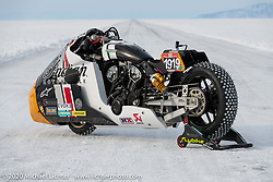 Belgian custom bike builder Brice Hennebert's 2018 Indian Scout Bobber LSR racer repurposed for ice racing at the Baikal Mile Ice Speed Festival. Maksimiha, Siberia, Russia. Wednesday, February 26, 2020. Photography ©2020 Michael Lichter.