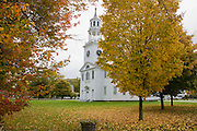 small church in New England in Fall.
