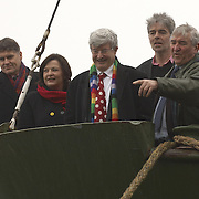 MSPs Fiona Hyslop, Mike Pringle, Robin Harper, Colin Fox, and Greenpeace Director John Sauiven on board the  MV Arctic Sunrise in Leith, Edinburgh, to launch the Scottish leg of Greenpeace's  'Trident:We Don't Bui It' Tour, 12 February 2007