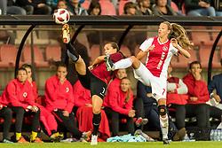 (L-R) Lucie Martínková of AC Sparta Praha women, Loïs Schenkel of Ajax women during the UEFA Women's Champions League match between Ajax Amsterdam and Sparta Praag at Sportpark De Toekomst on September 12, 2018 in Amsterdam, The Netherlands