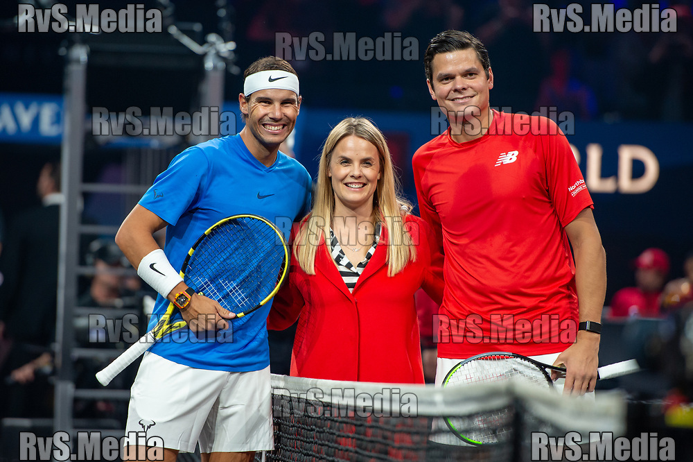 GENEVA, SWITZERLAND - SEPTEMBER 21: Rafael Nadal of Team Europe and Milos Raonic of Team World poses for photo during Day 2 of the Laver Cup 2019 at Palexpo on September 21, 2019 in Geneva, Switzerland. The Laver Cup will see six players from the rest of the World competing against their counterparts from Europe. Team World is captained by John McEnroe and Team Europe is captained by Bjorn Borg. The tournament runs from September 20-22. (Photo by Monika Majer/RvS.Media)