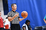 NORTH AUGUSTA, SC. July 10, 2019. Referee waits for the ball to come into play at Nike Peach Jam in North Augusta, SC. <br /> NOTE TO USER: Mandatory Copyright Notice: Photo by Alex Woodhouse / Jon Lopez Creative / Nike