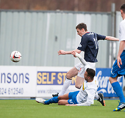 Falkirk's Conor McGrandles shots.<br /> Falkirk 1 v 1 Morton, Scottish Championship game today at The Falkirk Stadium.<br /> © Michael Schofield.