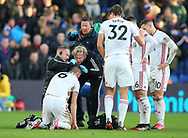 Chris Basham of Sheffield Utd receives treatment for a cut head during the Premier League match at Selhurst Park, London. Picture date: 1st February 2020. Picture credit should read: Paul Terry/Sportimage