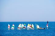 Sailboats in the Mediterranean Sea off the Tel Aviv Shore