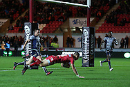 Liam Williams of the Scarlets dives over to score his teams 1st try in the 1st half. Guinness Pro12 rugby match, Scarlets  v Connacht at the Parc y Scarlets in Llanelli, West Wales on Saturday 24th September 2016.<br /> pic by  Andrew Orchard, Andrew Orchard sports photography.