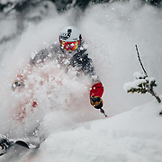 Andrew Whiteford skis inbounds powder during a major winter storm at JHMR in Wyoming.