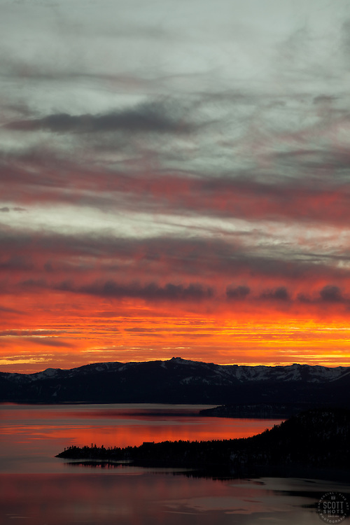 """""""Sunset at Lake Tahoe 19"""" - This orange and yellow sunset at Lake Tahoe was photographed from the vista point on Hwy  431, or Mount Rose Highway."""