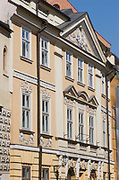 Building facade on the Market Square in Krakow Poland