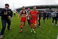 Wycombe Wanderers Joe Jacobson(3) and Wycombe Wanderers Sam Saunders(7) celebrate promotion during the EFL Sky Bet League 2 match between Chesterfield and Wycombe Wanderers at the b2net stadium, Chesterfield, England on 28 April 2018. Picture by Paul Thompson.