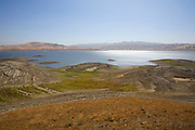 "The San Luis Reservoir is a water-storage ""off-stream"" reservoir and is typically low in late summer due to its heavy usage for irrigation, Merced County, California, USA"