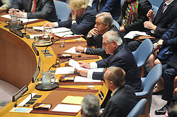 April 28, 2017 - New York, United States - New York, April 28, 2017. Rex W. Tillerson, Secretary of State, USA chairs the United Nations Security Council to discuss the latest ballistic missile test of the Democratic People's Republic of Korea and Non-proliferation of nuclear weapons. The Secretary General of the UN, Antonio Guterres made observations during the meeting. (Credit Image: © Luiz Roberto Lima/Pacific Press via ZUMA Wire)