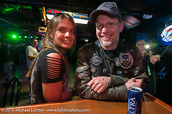 Jim Edens at the Sunday night HOG welcome party at the Full Moon Saloon during the Daytona Bike Week 75th Anniversary event. FL, USA. Sunday March 6, 2016.  Photography ©2016 Michael Lichter.