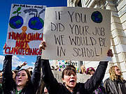 "15 MARCH 2019 - ST. PAUL, MINNESOTA, USA: Students chant during the MN Youth for Climate Justice ""Climate Strike"" at the Minnesota State Capitol in St. Paul, MN. Thousands of high school students braved below freezing temperatures and biting winds to demand action on climate change. The Minnesota Climate Strike was inspired by the strike by Greta Thunberg, a Swedish high school student, who started a climate strike at her school in August 2018.       PHOTO BY JACK KURTZ"