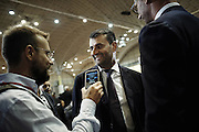 Il sindaco di Bari Antonio Decaro intervistato durante la  cerimonia inaugurale della 79esima edizione della Fiera del Levante, Bari 12 settembre 2015. Christian Mantuano / OneShot