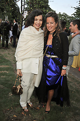 Left to right, BIANCA JAGGER and her daughter JADE JAGGER at the annual Serpentine Gallery Summer Party sponsored by Canvas TV  the new global arts TV network, held at the Serpentine Gallery, Kensington Gardens, London on 9th July 2009.