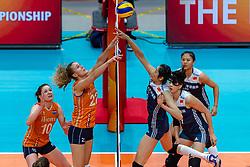 20-10-2018 JPN: Final World Championship Volleyball Women day 18, Yokohama<br /> China - Netherlands 3-0 / (L-R) Anne Buijs #11 of Netherlands, Lonneke Sloetjes #10 of Netherlands, Nicole Koolhaas #22 of Netherlands, Ting Zhu #2 of China, Ni Yan #17 of China