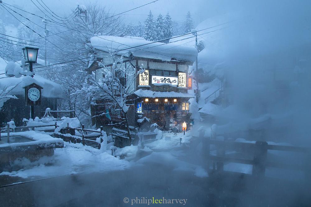 Illuminated building covered in snow, Nagano, Japan