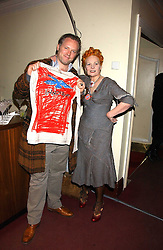 Top British fashion designer VIVIENNE WESTWOOD and her son JOE CORRE at the launch of 'Grand Classics:Films with Style' series in London hosted by Vivienne Westwood at The Electric Cinema, Portobello Road, London W11 on 20th March 2006.<br />