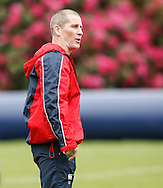 Picture by Andrew Tobin/Tobinators Ltd +44 7710 761829.24/05/2013.Stuart Lancaster looks on during the England training session at Pennyhill Park, Bagshot ahead of the match against the Barbarians on 26th May 2013.