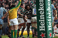 Photo: Rich Eaton.<br /> <br /> Leicester Tigers v Cardiff Blues. Heineken Cup. 13/01/2007.  Seru Rabeni centre all smiles after scoring a first half try