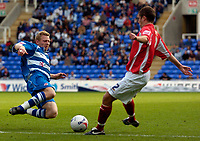 Photo: Alan Crowhurst.<br />Reading v Crewe Alexandra. Coca Cola Championship.<br />17/09/2005. Reading's Brynjar Gunnarsson leaps in on Crewe's Darren Moss.