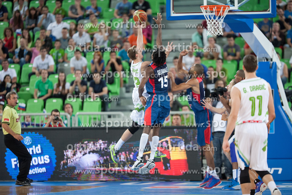 Zoran Dragic of Slovenia and Mickael Gebale of France during friendly match between National teams of Slovenia and France for Eurobasket 2013 on August 31, 2013 in Arena Stozice, Ljubljana, Slovenia. (Photo by Matic Klansek Velej / Sportida.com)