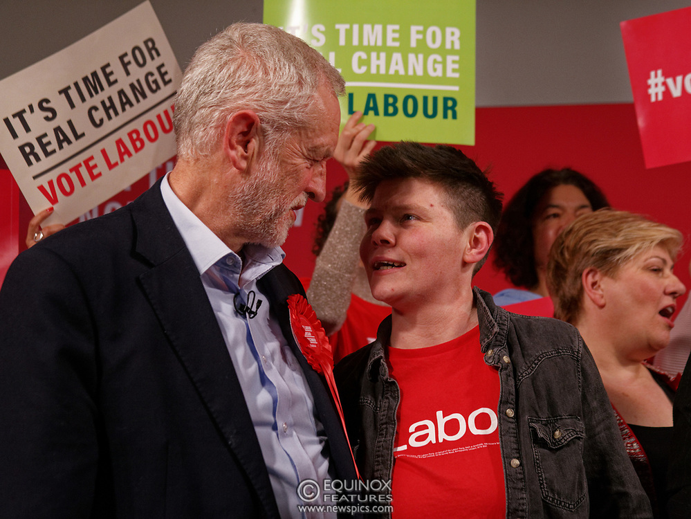 London, United Kingdom - 11 December 2019<br /> Labour Party leader Jeremy Corbyn speaking at their final campaign rally before the General Election 2019 at Hoxton Docks, London, England, UK.<br /> (photo by: EQUINOXFEATURES.COM)<br /> Picture Data:<br /> Photographer: Equinox Features<br /> Copyright: ©2019 Equinox Licensing Ltd. +443700 780000<br /> Contact: Equinox Features<br /> Date Taken: 20191211<br /> Time Taken: 21571172<br /> www.newspics.com