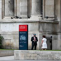 The National Gallery security;<br />Galleries in lockdown;<br />West End Theatreland, London, UK;<br />7th July 2020.<br /><br />© Pete Jones<br />pete@pjproductions.co.uk