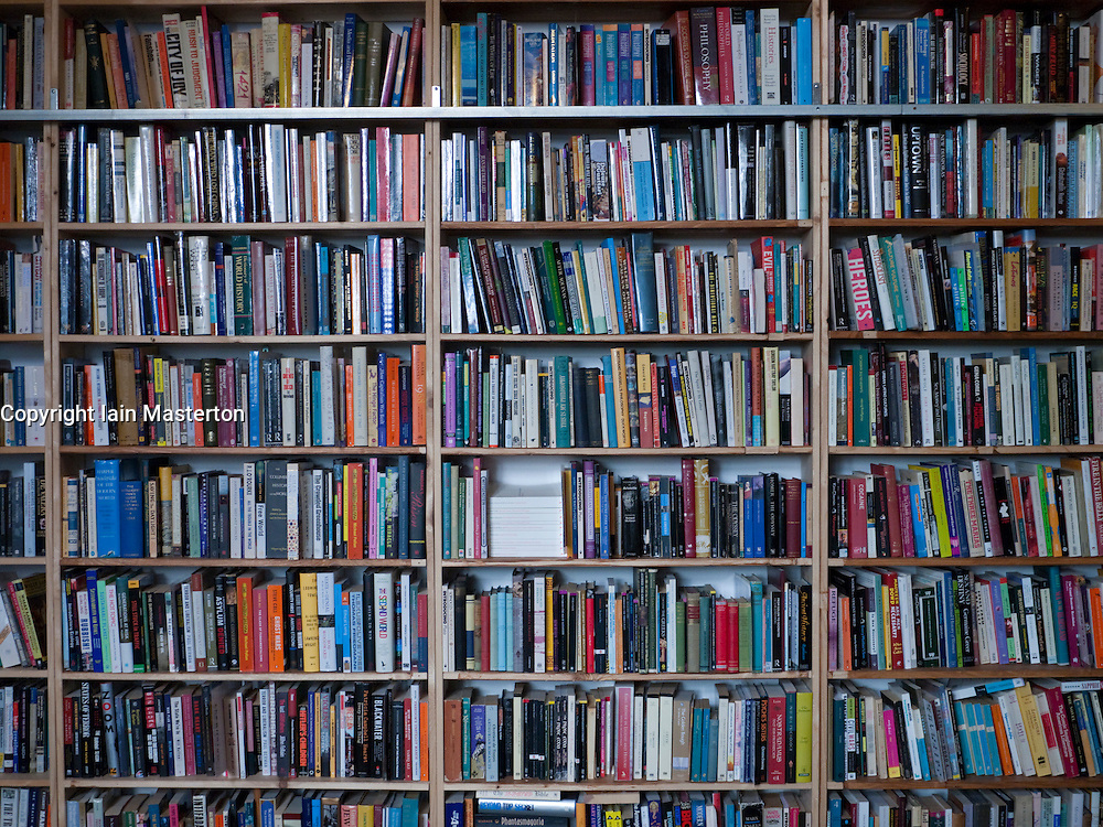 Detail of rows of secondhand books in a bookshop in Berlin