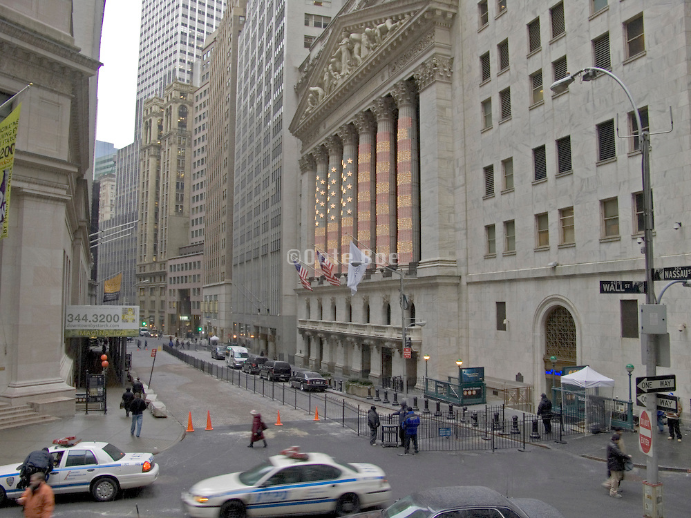 police cars patrolling wall street and the New York Stock Exchange