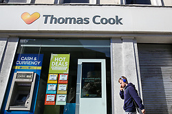 © Licensed to London News Pictures. 23/09/2019. London, UK. A branch of Thomas Cook in central London. The Civil Aviation Authority (CAA) announced shortly after 2 am this morning that the travel agent firm Thomas Cook hadceased trading with immediate effect. The liquidation puts 9,000 British jobs at risk and leaves the UK Government and CAA to fly home around 150,000 British holiday-makers left stranded around the world. Photo credit: Dinendra Haria/LNP
