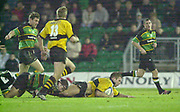 Northampton, Northamptonshire, UK, 08.12.2001, Wasps, Joe WORSLEY taken to ground by Budge POUnTNEY's Tackle   during the, Northampton Saints vs  London Wasps, Zurich Premiership Rugby, Franklyn Gardens, [Mandatory Credit: Peter Spurrier/Intersport Images]