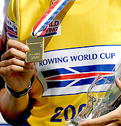 Poznan, POLAND,  BLR W1X, Ekaterina KARSTEN-KHODOTOVITCH, gold medelist, shows her gold medal for winning the Women's Single Scull, at the 2008 FISA World Cup. Rowing Regatta. Malta Rowing Course on Sunday, 22/06/2008. [Mandatory Credit:  Peter SPURRIER / Intersport Images] Rowing Course:Malta Rowing Course, Poznan, POLAND