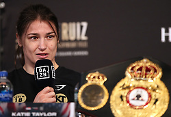 Katie Taylor during the undercard press conference at Madison Square Garden, New York.