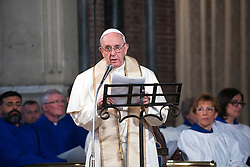 Pope Francis has paid a visit to All Saints Anglican Church in the heart of Rome, Italy on February 26, 2017. The Pope presided over an evensong service with the bishop of the Anglican Diocese in Europe Robert Innes. It's the first time a pope has visited an Anglican church in Rome and it comes as part of All Saints' 200th anniversary celebrations. The Pope also blessed a newly commissioned icon of Christ the Saviour. PHOTO by ABACAPRESS.COM