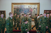 """Saint Petersburg, Russia, June 2002..The Russian Museum, with its extensive collection of Russian art, is one of the city's many world-class museums. Soldiers and Repin's """"Zaporozhie Cossacks Write A Letter To The Turkish Sultan"""".."""