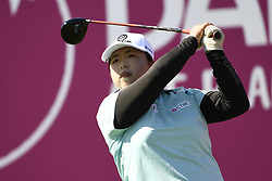 EVIAN-LES-BAINS, FRANCE - SEPTEMBER 15:  Shanshan Feng of China plays a shot during the first round of The Evian Championship on September 15, 2017 in Evian-les-Bains, France. (Credit Image: © Alain Grosclaude/Xinhua via ZUMA Wire)