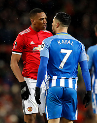 Manchester United's Anthony Martial (left) and Brighton & Hove Albion's Beram Kayal confront each other during the Emirates FA Cup, quarter final match at Old Trafford, Manchester.