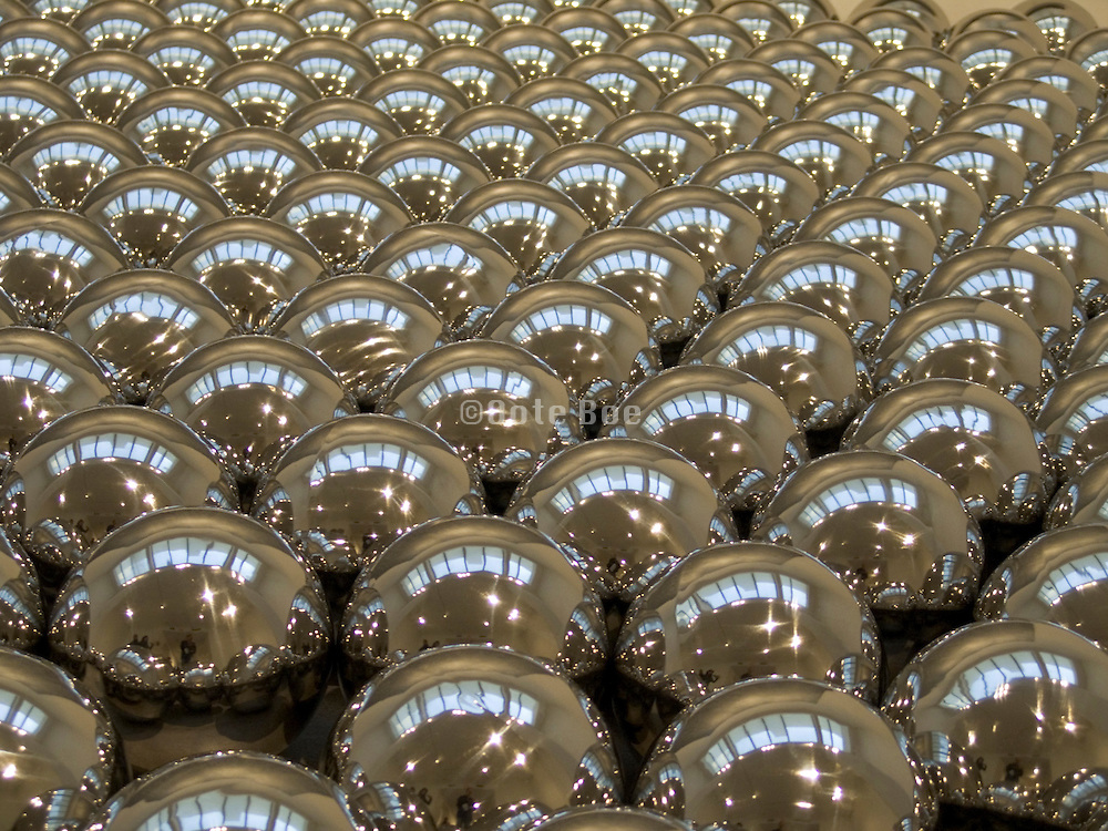 reflective chrome balls  - close up of installation Narcissus garden by Yayoi Kusama 2004