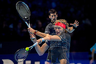Multiple in-camera exposure of Novak Djokovic of Serbia and Alexander 'Sasha' Zverev of Germany during the Nitto ATP Tour Finals at the O2 Arena, London, United Kingdom on 18 November 2018. Photo by Martin Cole