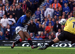 Neil McCann scoring their second goal, during a Rangers v Dunfermline game in August 2000..