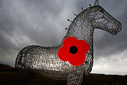 To mark the 2011 Scottish Poppy Appeal, which celebrates its 90th anniversary this November, the Heavy Horse statue at Baillieston will be wearing a specially-designed poppy, created by the original sculptor..Pic © Michael Schofield.