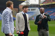 caption correction : BT Sport Presenter Jake Humphrey, Joel Ward of Crystal Palace and Crystal Palace Legend Ian Wright in discussion before k/o. Barclays Premier League match, Crystal Palace v West Bromwich Albion at Selhurst Park in London on Saturday 3rd October 2015.<br /> pic by John Patrick Fletcher, Andrew Orchard sports photography.