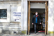 London, Britain, May, 6, 2021 — A man leaves a polling station at Methodist Central Hall in central London on Thursday after they cast their vote on the local and London Mayoral elections. (Photo/ Vudi Xhymshiti)