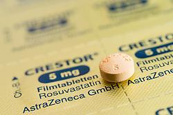 Tablet and foil blister packet for Crestor branded statins cholesterol reducing pills.