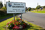 Welcome to Wadebridge, Cornwall road sign, on the ease side of the town.  Wadebridge, Cornwall, UK.