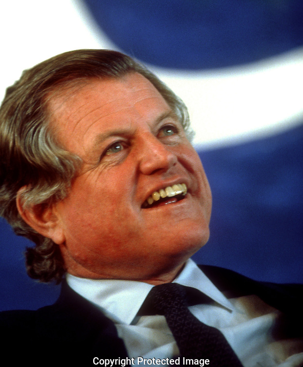 Des Moines, IA  1984/04/01:Senator Ted Kennedy smiles at Presidential candidate Walter Mondale  in his race for the White house in 1984, <br /><br />Photograph by Dennis Brack