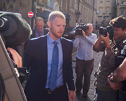 © Licensed to London News Pictures. 13/08/2018. Bristol, UK. BEN STOKES with his wife CLARE RATCLIFFE arrives at Bristol Crown court today at the start of the second week of his trial on charges of affray that relate to a fight outside a Bristol nightclub on September 25 2017. England cricketer Ben Stokes and Ryan Ali, 28 deny the charge. Stokes and Ali are charged with affray in the Clifton Triangle area of Bristol on September 25 last year, several hours after England had played a one-day international against the West Indies in the city. Ali allegedly suffered a fractured eye socket in the incident. Photo credit: Simon Chapman/LNP