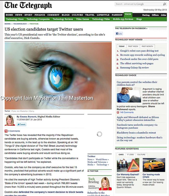 Screenshot from The Telegraph; Twitter logo in eye